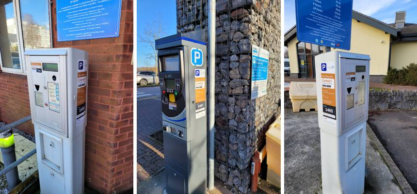Photos of the parking meters at Torbay, Newton Abbot and Totnes Hospitals with the new ability to pay by phone for parking
