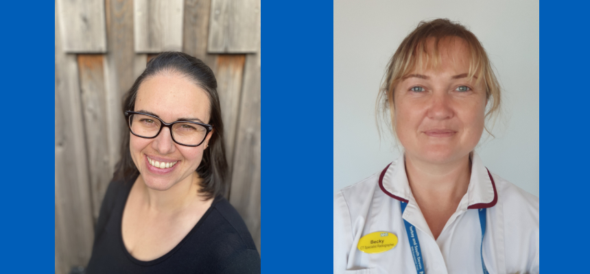 Becky Stride (CT radiographer) and Abi McWhinney (community midwife), the first Trust staff to be awarded the new 70@70 Research Associateships