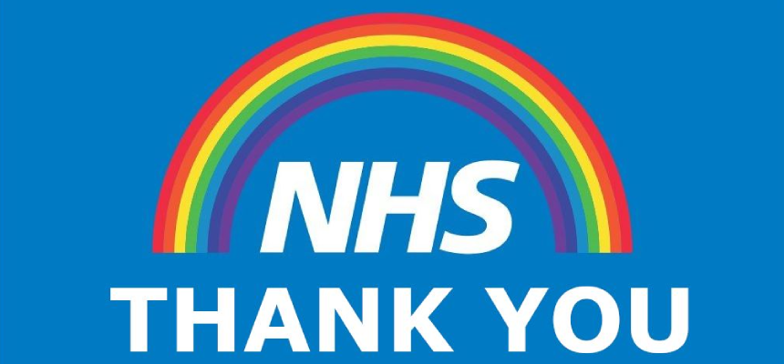 Rainbow over the NHS Logo - Thank You