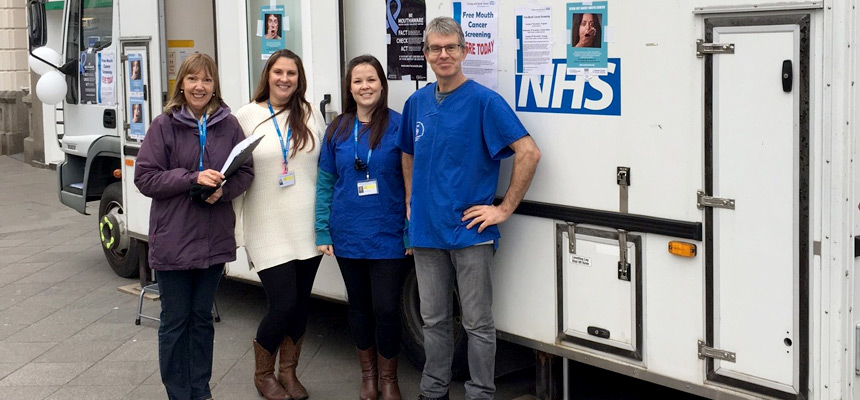 Staff outside the mobile dental van in Newton Abbot.