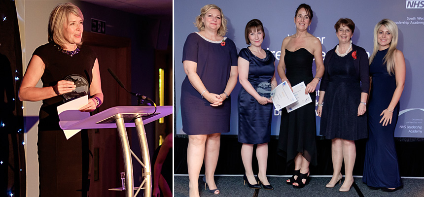 Left photo: Jane Wilkinson (winner). Right photo: Emma Baker (finalist), centre.
