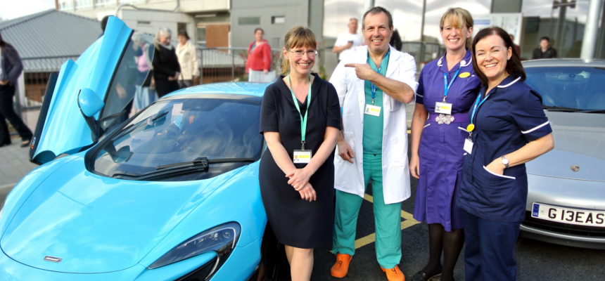 Survivor and surgeon take to supercars for local bowel cancer charity