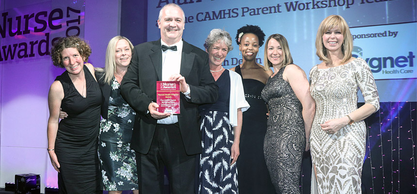 Alan Wilmott with colleagues from the CAMHS team