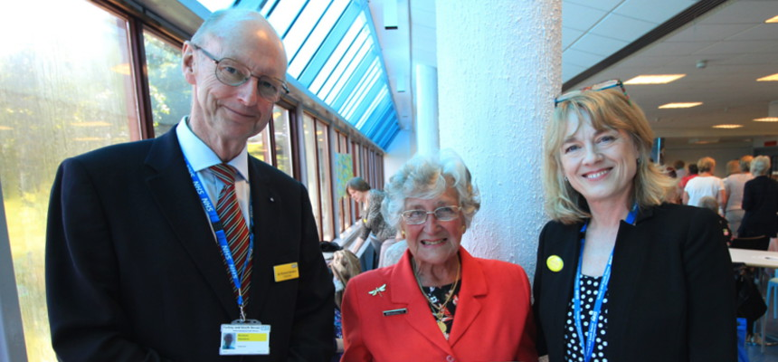 Chairman, Sir Richard Ibbotson with League of Friends volunteer, Jean Elliott, and Jane Viner, Chief Nurse
