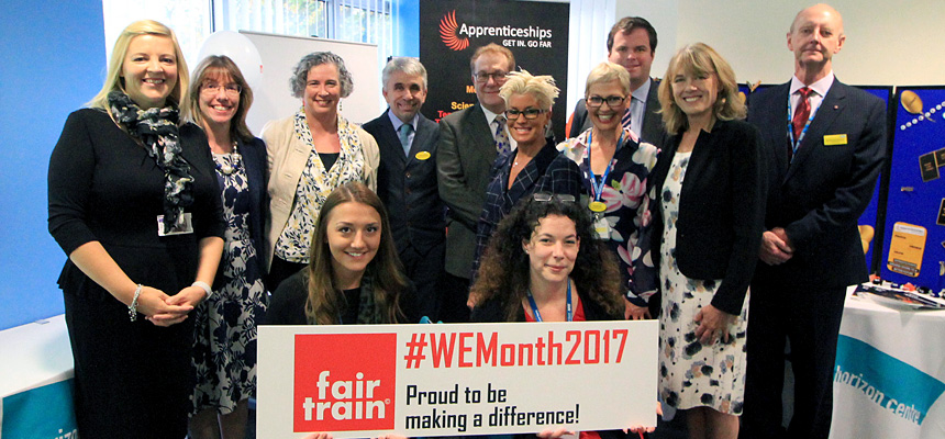 Photo shows Fair Train CEO Rod Nakiel, Kevin Foster MP, TSDFT Chairman Sir Richard Ibbotson, TSDFT Chief Nurse Jane Viner, along with representatives from South Devon College, Proud to Care, and the Trust's Employability Hub.