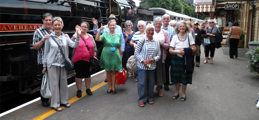 Gropu of carers at steam railway