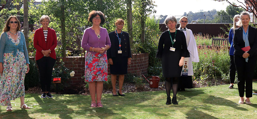 Photo: The planting was attended by Liz Davenport, Trust Chief Executive, and Jane Watson, President of Torbay Nurses League; Deborah Kelly, Chief Nurse; The Reverend Angela Sumner, Chaplain; Jo Brimblecombe, Hospital Site Services Lead; Annie Hall, Trust Governor; and Nurses League members Julie Back, and Elaine Biden.
