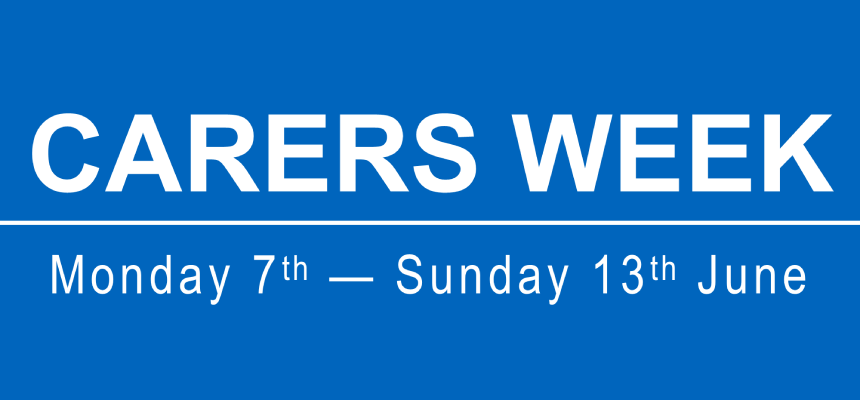 Banner image with text Carers Week 2021