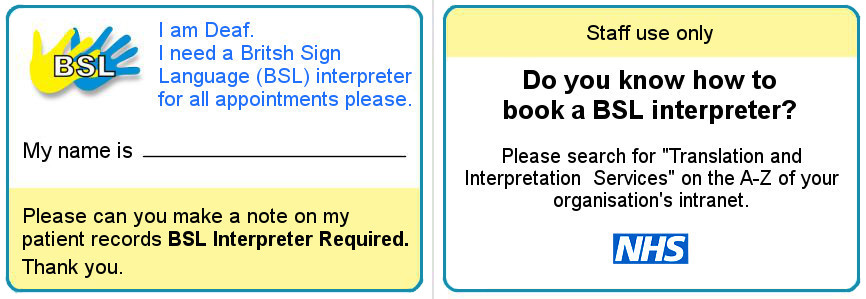 BSL Interpreting Card